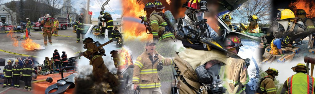 Collage of firemen in action